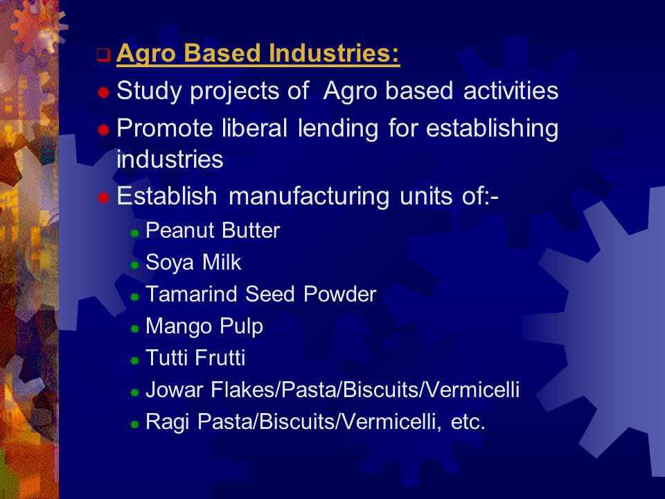  Agro Based Industries:  Study projects of Agro based activities  Promote liberal lending for establishing industries  Establish manufacturing units of:-  Peanut Butter  Soya Milk  Tamarind Seed Powder  Mango Pulp  Tutti Frutti  Jowar Flakes/Pasta/Biscuits/Vermicelli  Ragi Pasta/Biscuits/Vermicelli, etc.