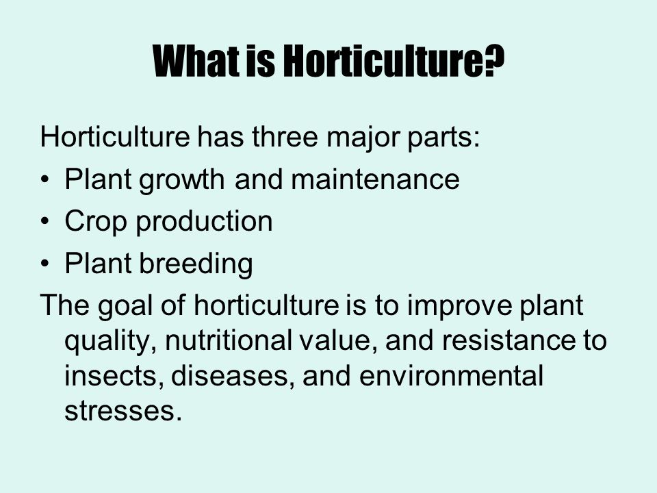 What is Horticulture? Horticulture has three major parts: Plant growth and maintenance Crop production Plant breeding The goal of horticulture is to i