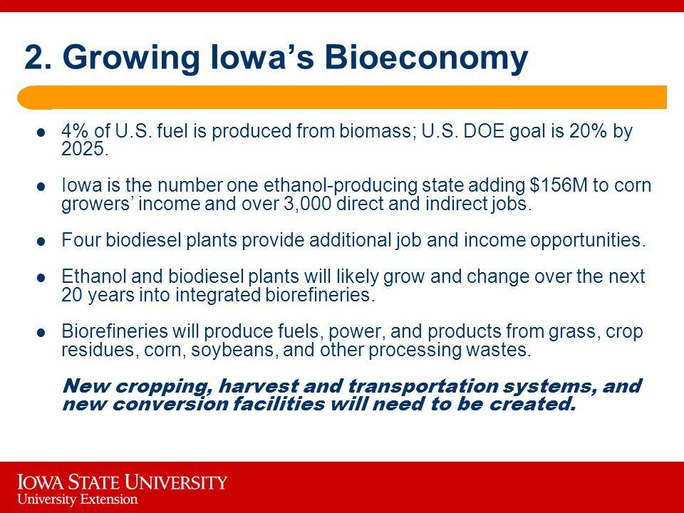 2. Growing Iowa's Bioeconomy 4% of U.S. fuel is produced from biomass; U.S.
