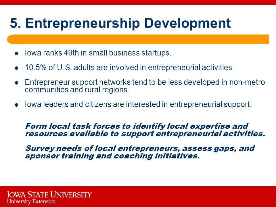 5. Entrepreneurship Development Iowa ranks 49th in small business startups.