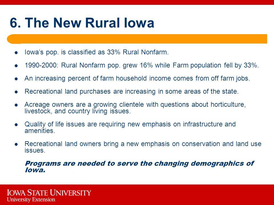 6. The New Rural Iowa Iowa's pop. is classified as 33% Rural Nonfarm.