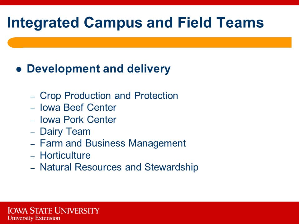 Integrated Campus and Field Teams Development and delivery – Crop Production and Protection – Iowa Beef Center – Iowa Pork Center – Dairy Team – Farm and Business Management – Horticulture – Natural Resources and Stewardship