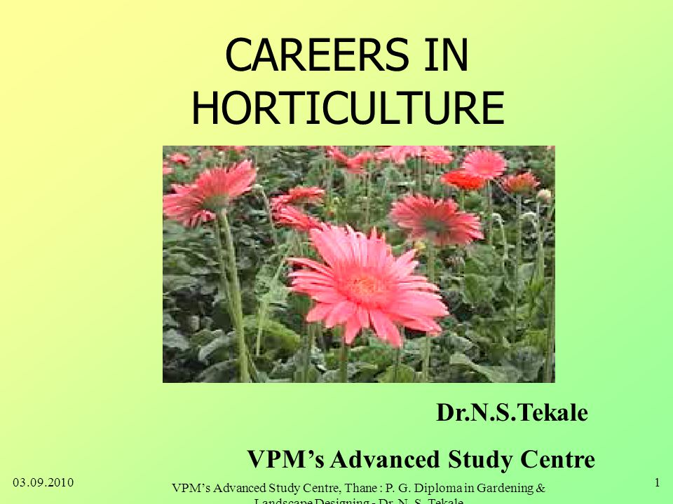CAREERS IN HORTICULTURE Dr.N.S.Tekale VPM's Advanced Study Centre 03.09.20101 VPM's Advanced Study Centre, Thane : P.