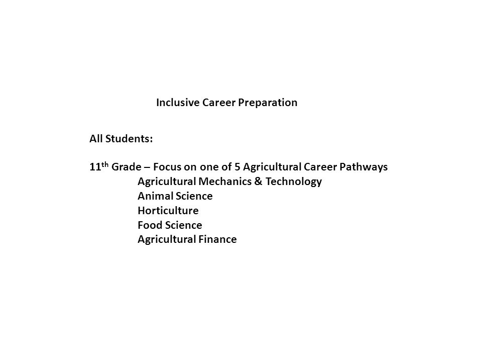 Inclusive Career Preparation 11 th Grade – Focus on one of 5 Agricultural Career Pathways Agricultural Mechanics & Technology Animal Science Horticulture Food Science Agricultural Finance All Students: