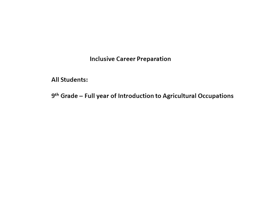 Inclusive Career Preparation 9 th Grade – Full year of Introduction to Agricultural Occupations All Students: