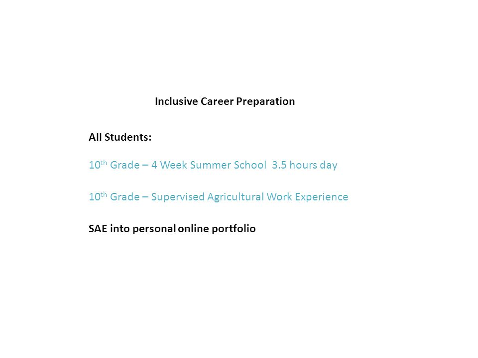 Inclusive Career Preparation 10 th Grade – 4 Week Summer School 3.5 hours day All Students: 10 th Grade – Supervised Agricultural Work Experience SAE into personal online portfolio