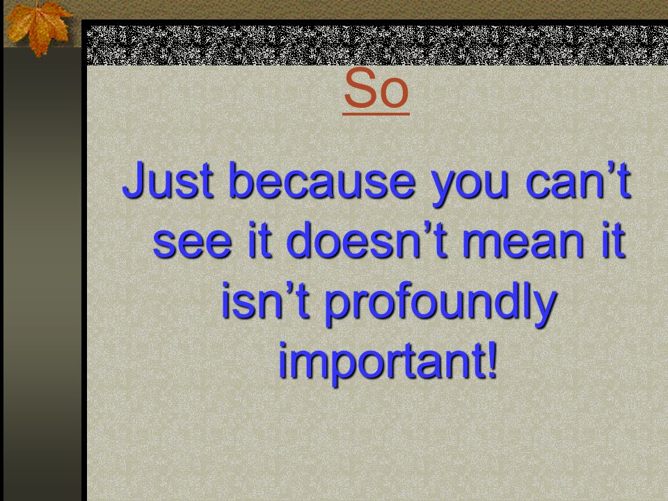 So Just because you can't see it doesn't mean it isn't profoundly important!