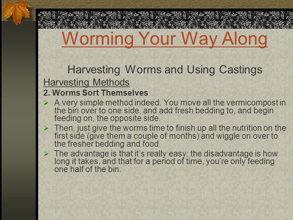 Worming Your Way Along Harvesting Worms and Using Castings Harvesting Methods 2. Worms Sort Themselves  A very simple method indeed. You move all the