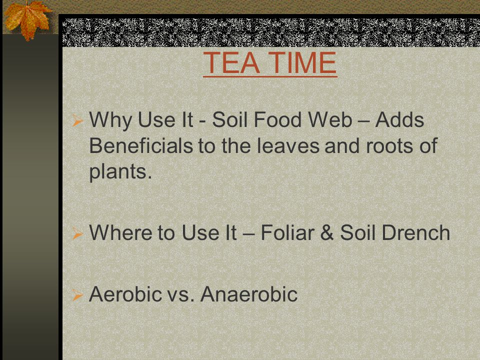 TEA TIME  Why Use It - Soil Food Web – Adds Beneficials to the leaves and roots of plants.