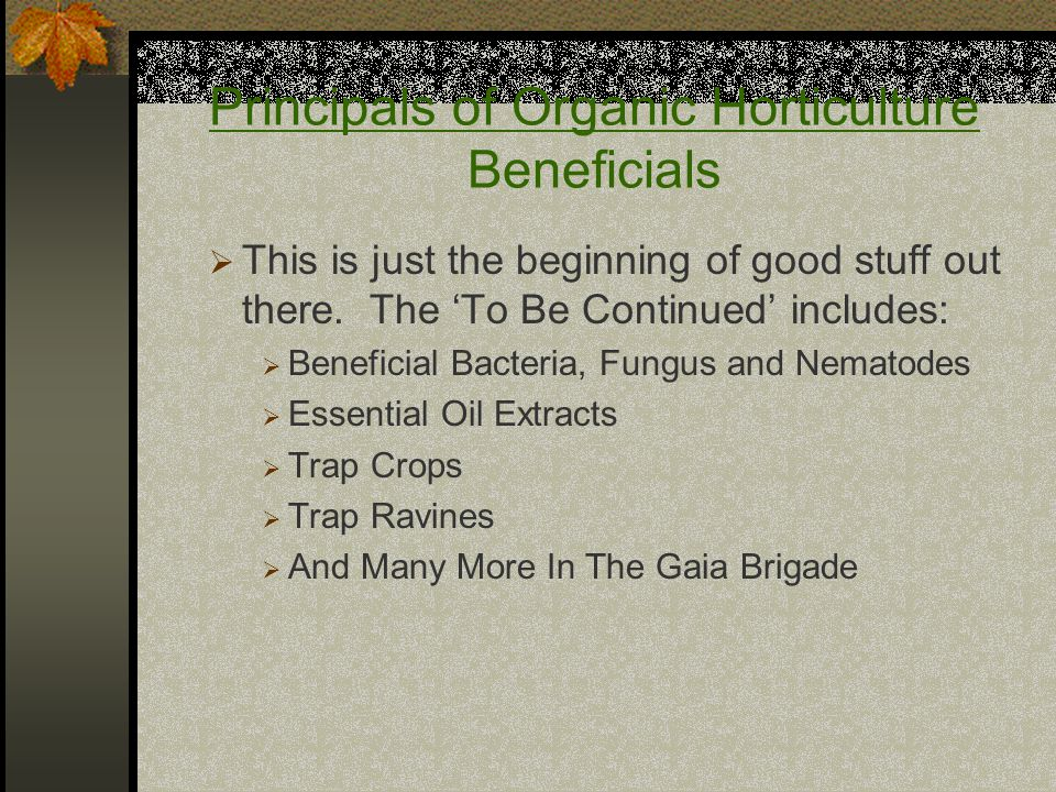Principals of Organic Horticulture Beneficials  This is just the beginning of good stuff out there.