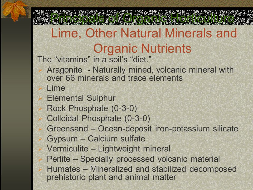 "Principals of Organic Horticulture Lime, Other Natural Minerals and Organic Nutrients The ""vitamins"" in a soil's ""diet.""  Aragonite - Naturally mined"