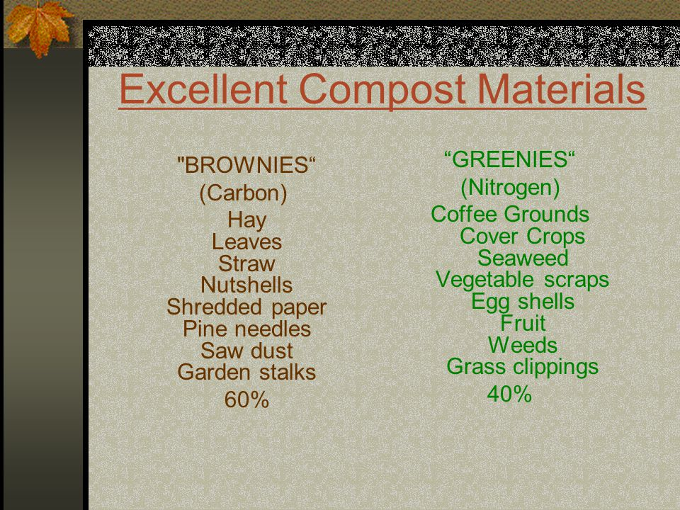 GREENIES (Nitrogen) Coffee Grounds Cover Crops Seaweed Vegetable scraps Egg shells Fruit Weeds Grass clippings 40% BROWNIES (Carbon) Hay Leaves Straw Nutshells Shredded paper Pine needles Saw dust Garden stalks 60%