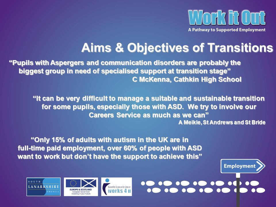 In response to the Scottish Strategy for Autism, SLC aim to provide the right individualised support to those who are preparing for their transition to leave school.In response to the Scottish Strategy for Autism, SLC aim to provide the right individualised support to those who are preparing for their transition to leave school.