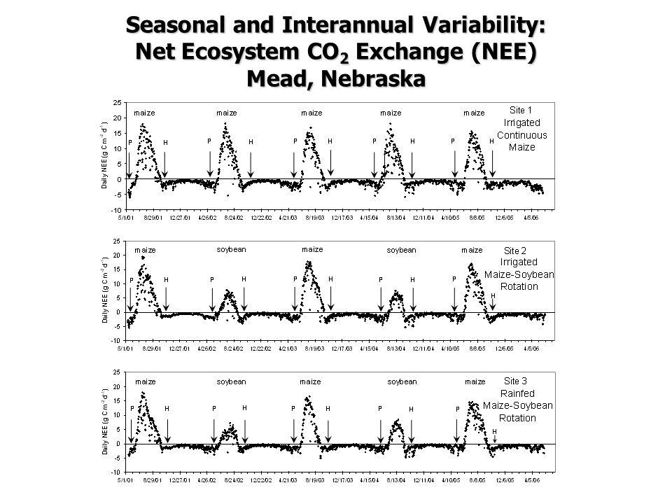 Seasonal and Interannual Variability: Net Ecosystem CO 2 Exchange (NEE) Mead, Nebraska