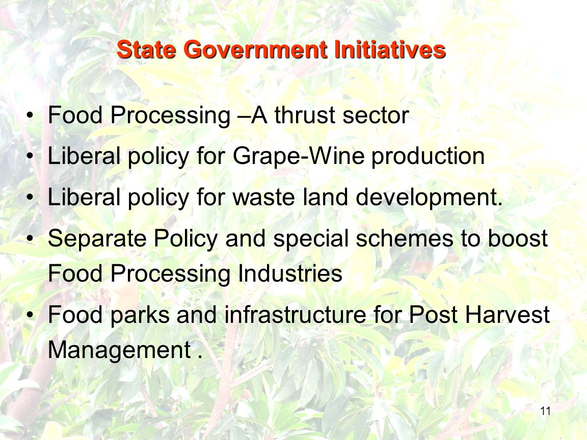 11 Food Processing –A thrust sector Liberal policy for Grape-Wine production Liberal policy for waste land development.