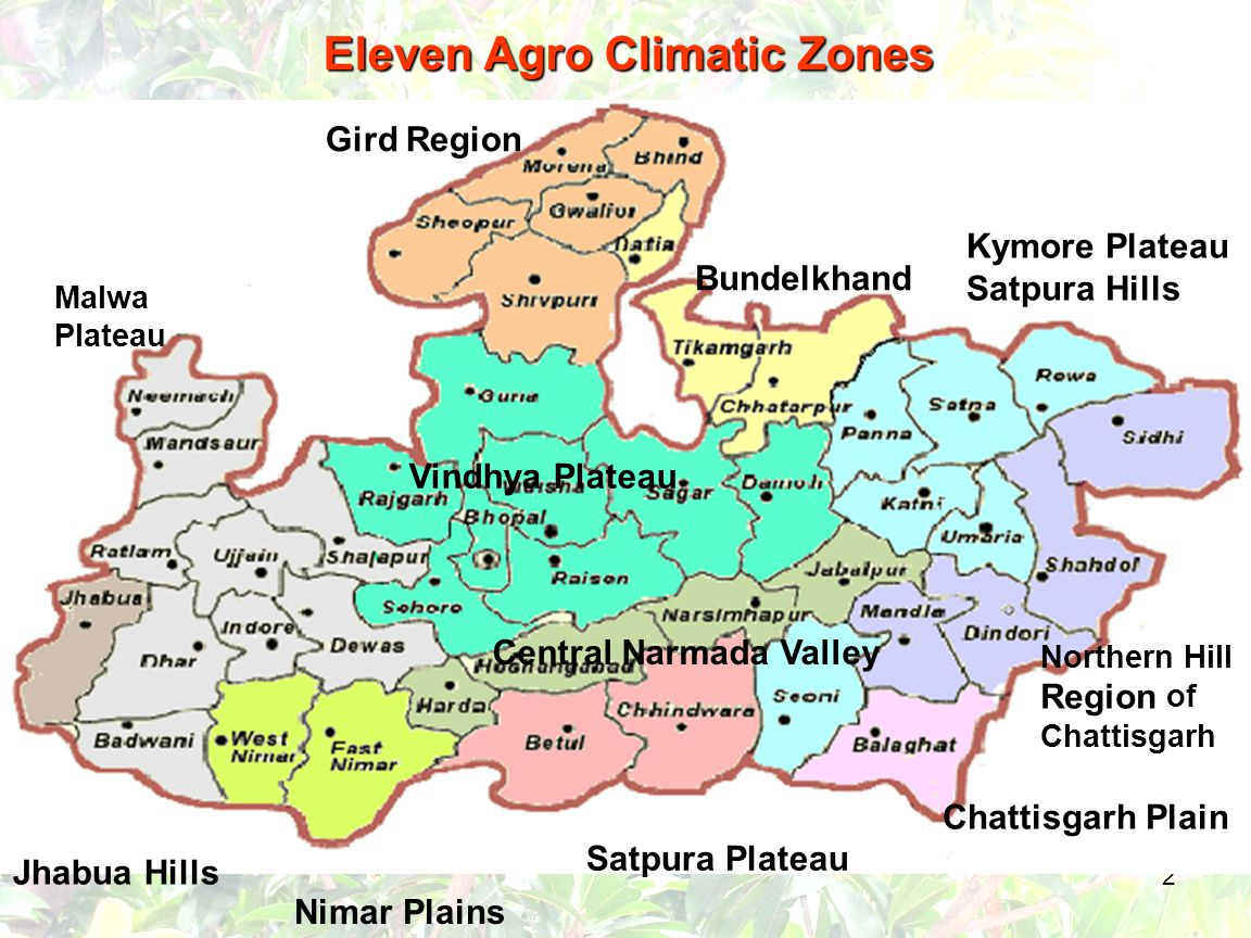 2 Chattisgarh Plain Northern Hill Region of Chattisgarh Kymore Plateau Satpura Hills Bundelkhand Gird Region Malwa Plateau Nimar Plains Jhabua Hills Vindhya Plateau Central Narmada Valley Satpura Plateau Eleven Agro Climatic Zones