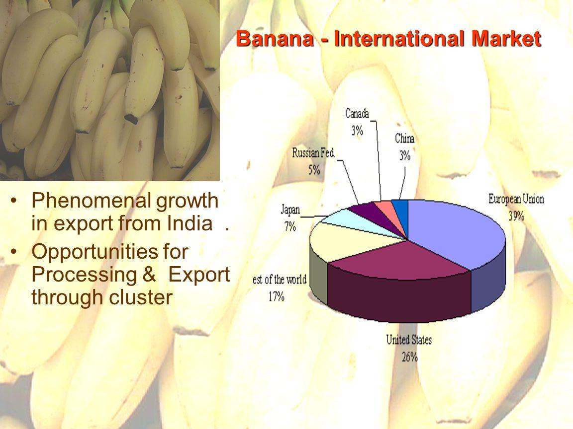 28 Banana - International Market Phenomenal growth in export from India.