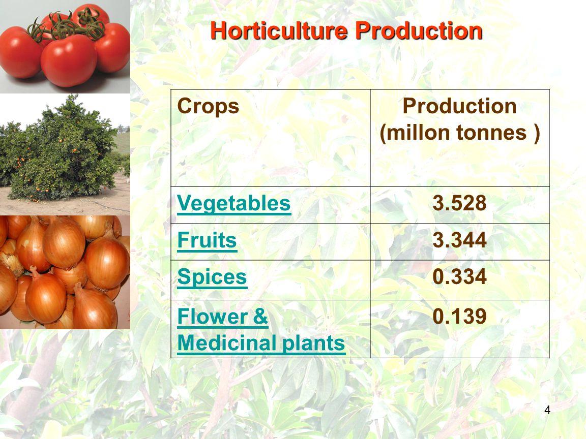 4 CropsProduction (millon tonnes ) Vegetables3.528 Fruits3.344 Spices0.334 Flower & Medicinal plants 0.139 Horticulture Production