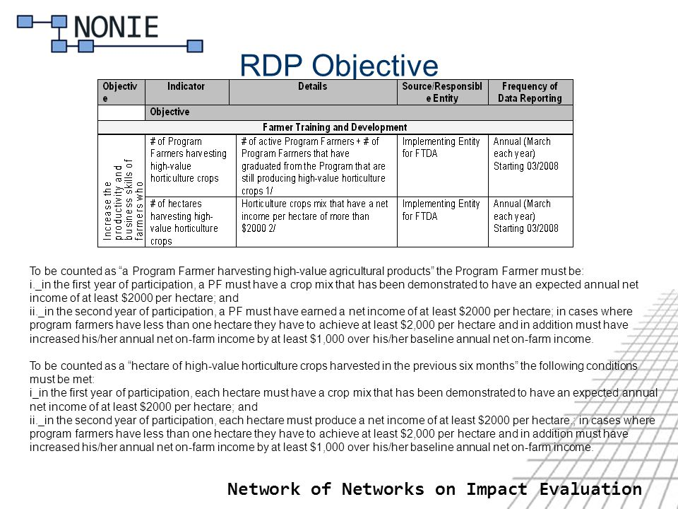 RDP Objective Network of Networks on Impact Evaluation To be counted as a Program Farmer harvesting high-value agricultural products the Program Farmer must be: i._in the first year of participation, a PF must have a crop mix that has been demonstrated to have an expected annual net income of at least $2000 per hectare; and ii._in the second year of participation, a PF must have earned a net income of at least $2000 per hectare; in cases where program farmers have less than one hectare they have to achieve at least $2,000 per hectare and in addition must have increased his/her annual net on-farm income by at least $1,000 over his/her baseline annual net on-farm income.