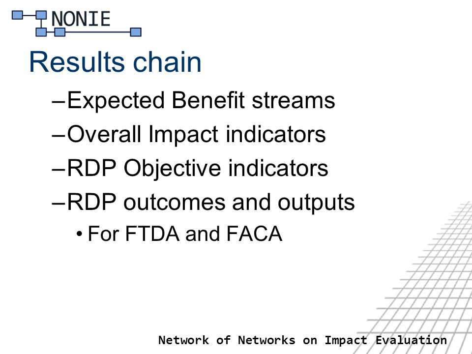 Results chain –Expected Benefit streams –Overall Impact indicators –RDP Objective indicators –RDP outcomes and outputs For FTDA and FACA