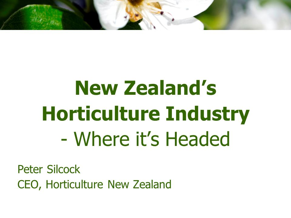 New Zealand's Horticulture Industry - Where it's Headed Peter Silcock CEO, Horticulture New Zealand