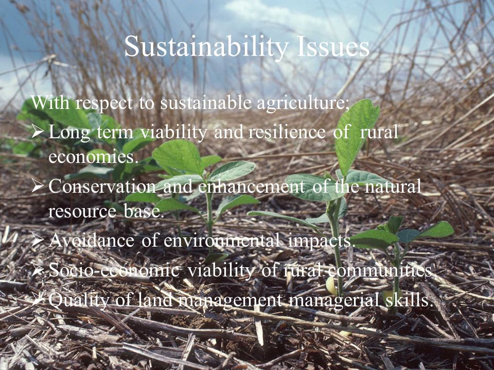Sustainability Issues With respect to sustainable agriculture;  Long term viability and resilience of rural economies.