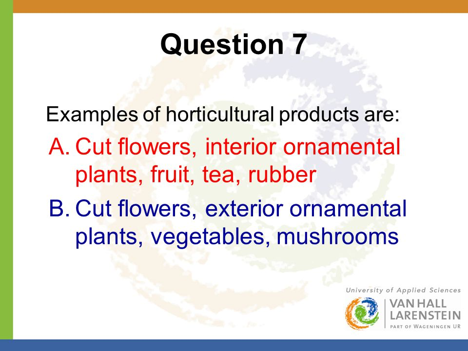 Question 7 Examples of horticultural products are: A.Cut flowers, interior ornamental plants, fruit, tea, rubber B.Cut flowers, exterior ornamental pl