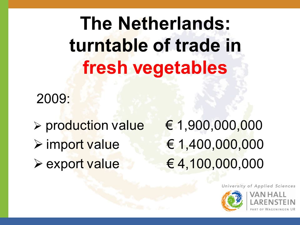 The Netherlands: turntable of trade in fresh vegetables 2009:  production value € 1,900,000,000  import value € 1,400,000,000  export value € 4,100