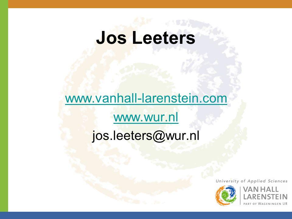 Jos Leeters www.vanhall-larenstein.com www.wur.nl jos.leeters@wur.nl