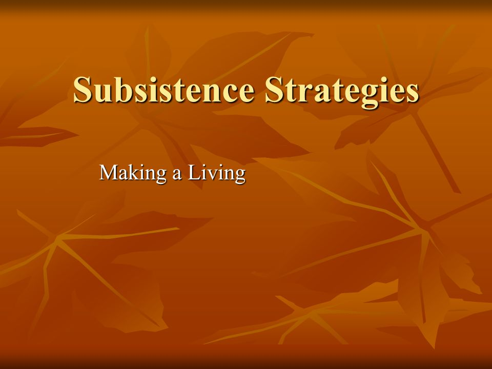 Subsistence Strategies Making a Living