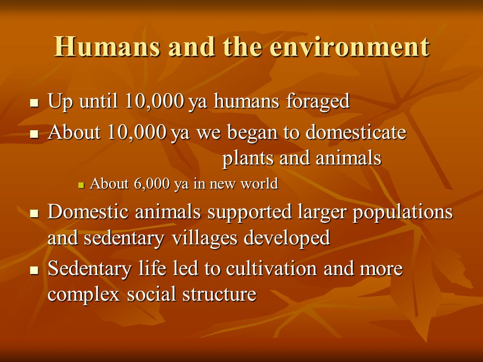 Humans and the environment Up until 10,000 ya humans foraged Up until 10,000 ya humans foraged About 10,000 ya we began to domesticate plants and animals About 10,000 ya we began to domesticate plants and animals About 6,000 ya in new world About 6,000 ya in new world Domestic animals supported larger populations and sedentary villages developed Domestic animals supported larger populations and sedentary villages developed Sedentary life led to cultivation and more complex social structure Sedentary life led to cultivation and more complex social structure