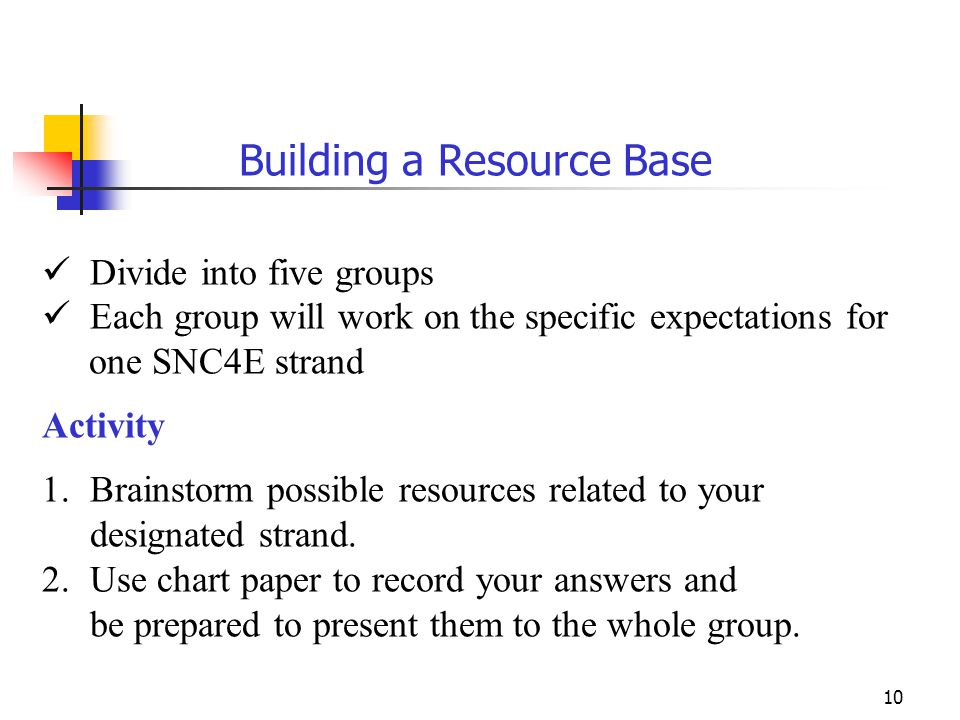 10 Building a Resource Base Divide into five groups Each group will work on the specific expectations for one SNC4E strand Activity 1.Brainstorm possi