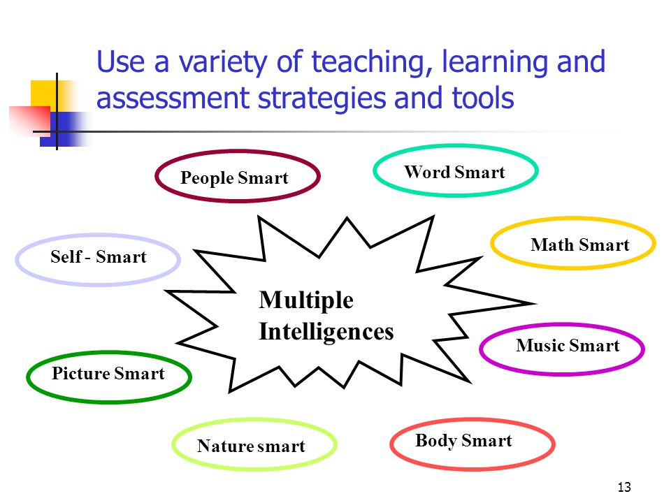13 Multiple Intelligences Use a variety of teaching, learning and assessment strategies and tools Word Smart Math Smart Music Smart Picture Smart Self