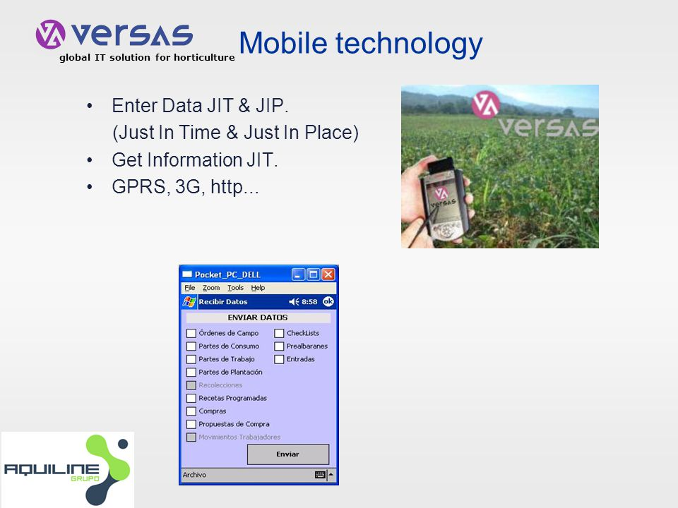 global IT solution for horticulture Mobile technology Enter Data JIT & JIP.