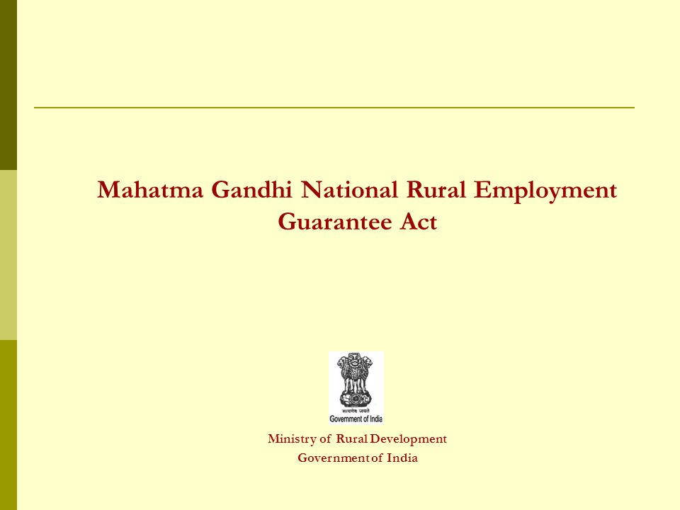 Mahatma Gandhi National Rural Employment Guarantee Act Ministry of Rural Development Government of India