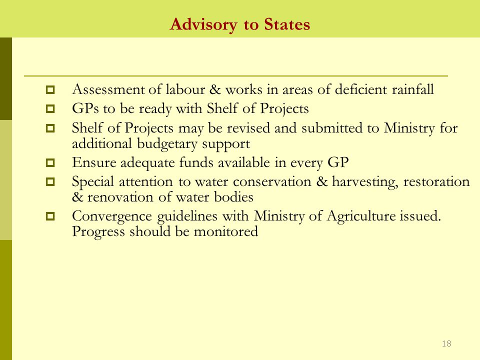 Advisory to States  Assessment of labour & works in areas of deficient rainfall  GPs to be ready with Shelf of Projects  Shelf of Projects may be revised and submitted to Ministry for additional budgetary support  Ensure adequate funds available in every GP  Special attention to water conservation & harvesting, restoration & renovation of water bodies  Convergence guidelines with Ministry of Agriculture issued.