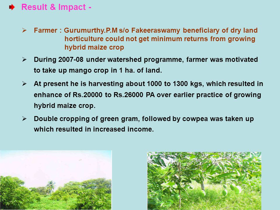 Evaluation & Evidence - Replicability and Dissemination - The change in the land use from hybrid maize to mango crop has reaped Rs.20000 to Rs.26000 PA.