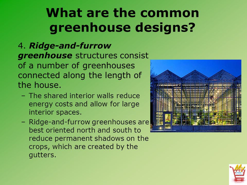 What are the common greenhouse designs? 4. Ridge-and-furrow greenhouse structures consist of a number of greenhouses connected along the length of the