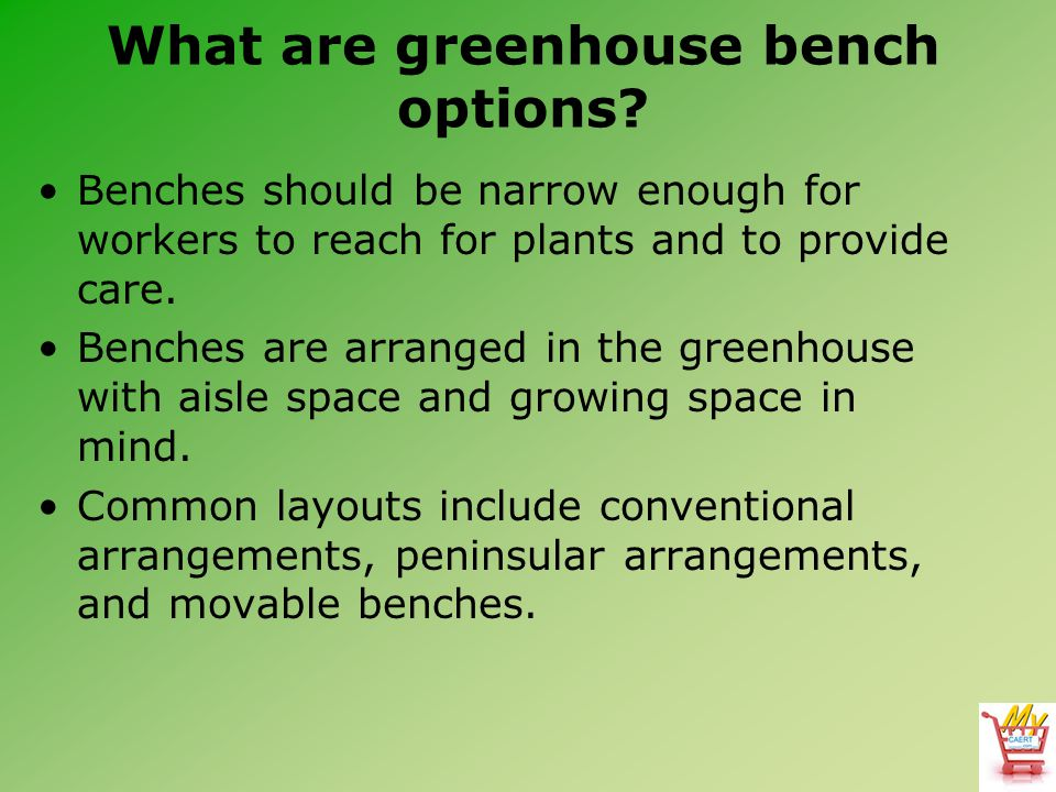 What are greenhouse bench options? Benches should be narrow enough for workers to reach for plants and to provide care. Benches are arranged in the gr