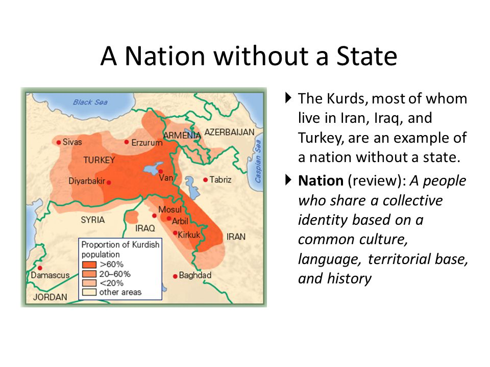 A Nation without a State  The Kurds, most of whom live in Iran, Iraq, and Turkey, are an example of a nation without a state.