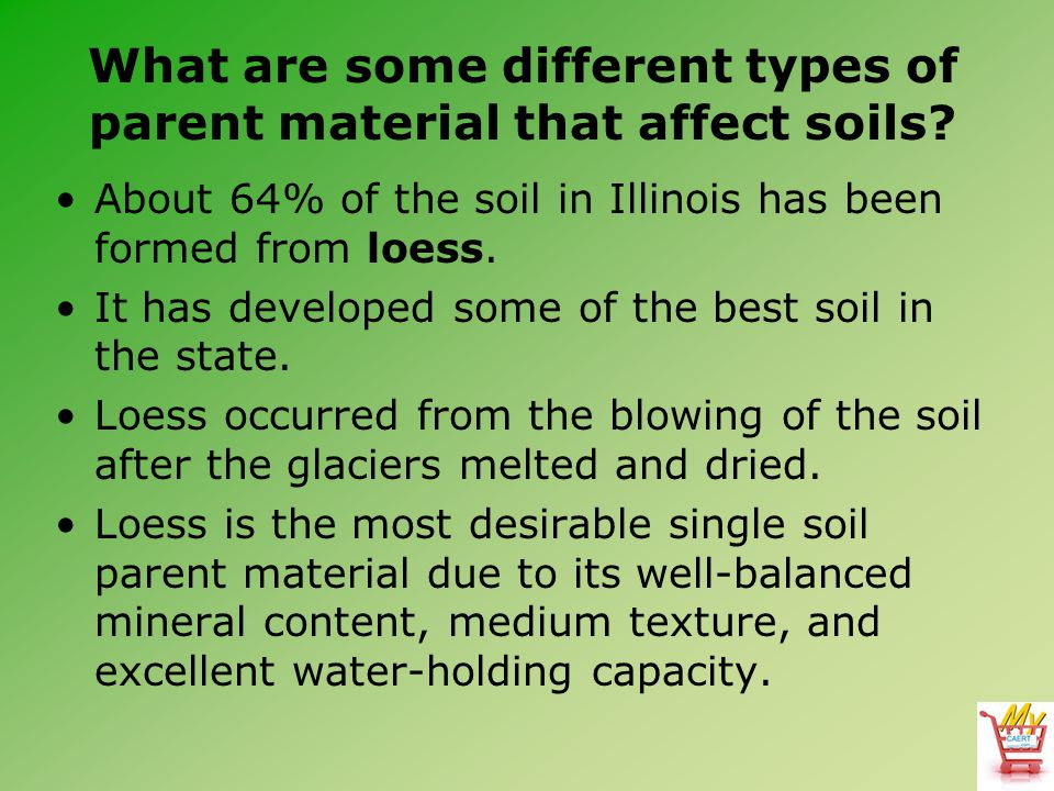 What are some different types of parent material that affect soils? About 64% of the soil in Illinois has been formed from loess. It has developed som