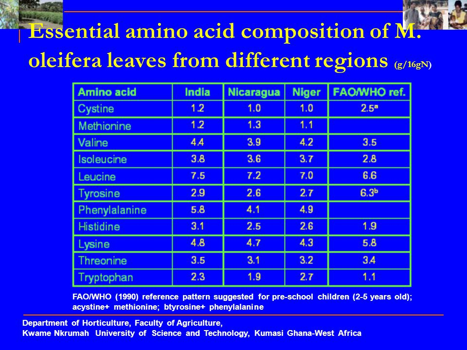 Department of Horticulture, Faculty of Agriculture, Kwame Nkrumah University of Science and Technology, Kumasi Ghana-West Africa Essential amino acid