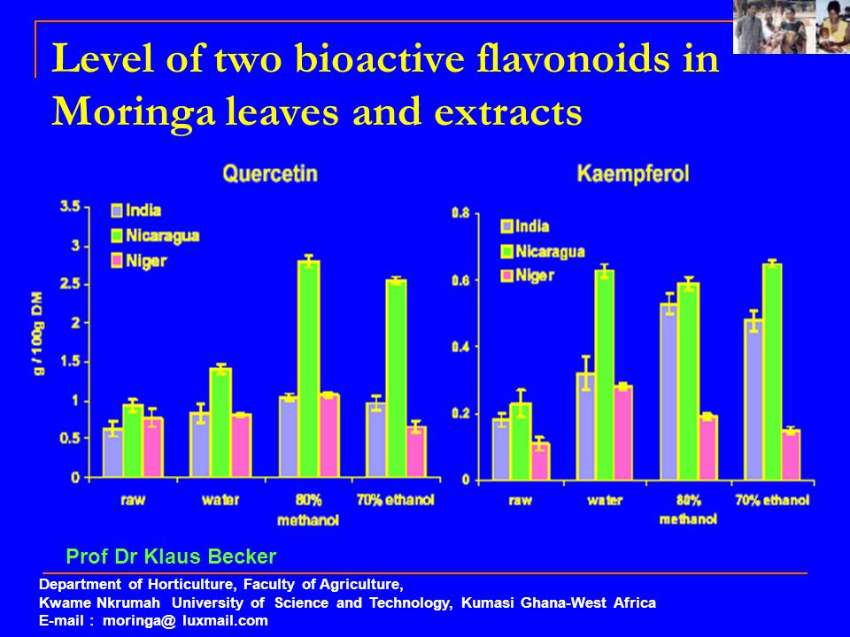 Level of two bioactive flavonoids in Moringa leaves and extracts Department of Horticulture, Faculty of Agriculture, Kwame Nkrumah University of Scien