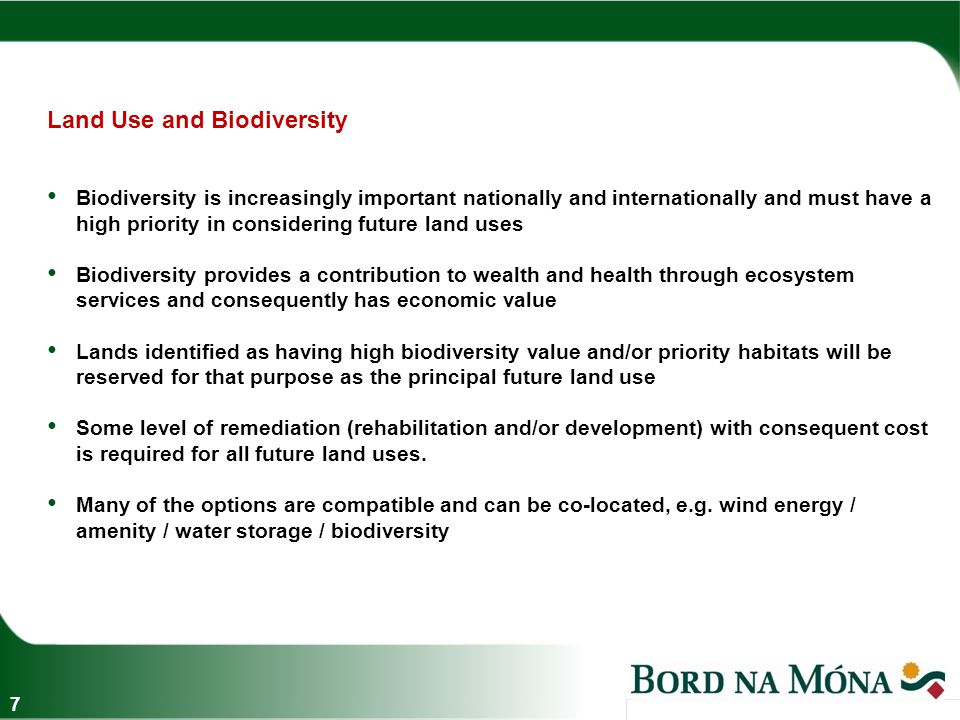Land Use Options and some current examples 8 Wind Energy Amenity and Tourism High Value Biodiversity Industry and Infrastructure Forestry  Mountlucas and Bruckana windfarms  Lough Boora Discovery Park, Co Offaly  Community Projects  Drehid Resource Recovery Park, Co Kildare  Derryarkin Sand and Gravel Ltd  Significant areas leased to Coillte  Clonboley Bog Group  Killeglan Bog Group