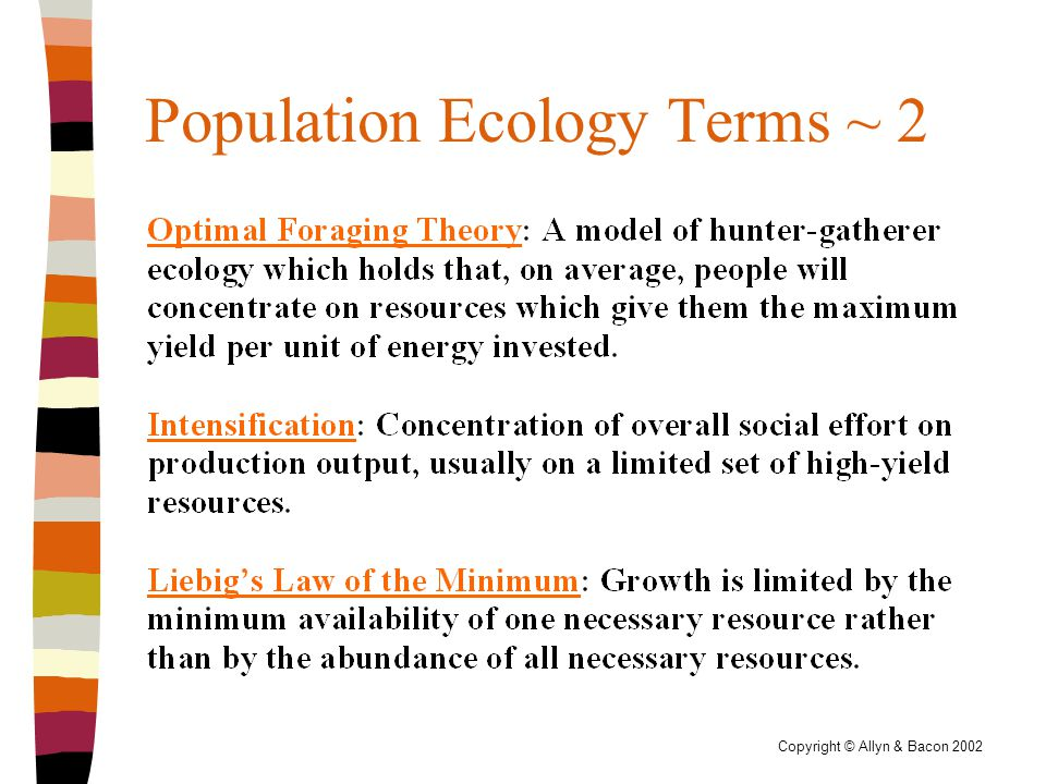 Copyright © Allyn & Bacon 2002 Population Ecology Terms ~ 2