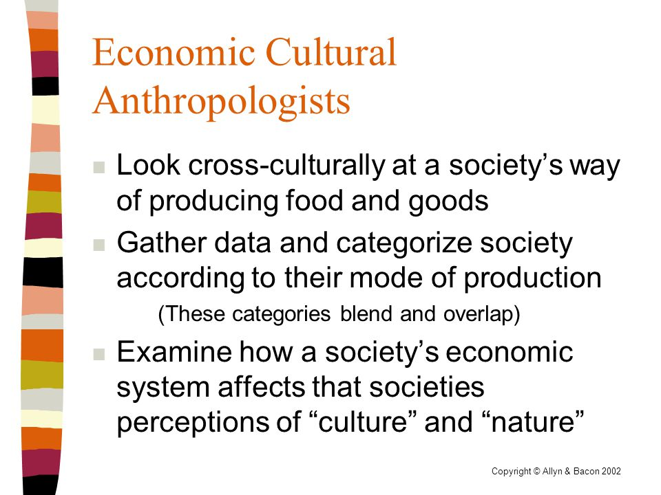 Copyright © Allyn & Bacon 2002 Economic Cultural Anthropologists n Look cross-culturally at a society's way of producing food and goods n Gather data and categorize society according to their mode of production (These categories blend and overlap) n Examine how a society's economic system affects that societies perceptions of culture and nature