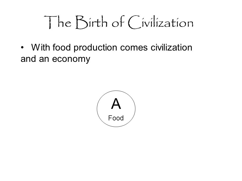 The Birth of Civilization With food production comes civilization and an economy A Food