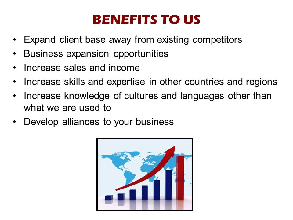 BENEFITS TO US Expand client base away from existing competitors Business expansion opportunities Increase sales and income Increase skills and expertise in other countries and regions Increase knowledge of cultures and languages other than what we are used to Develop alliances to your business