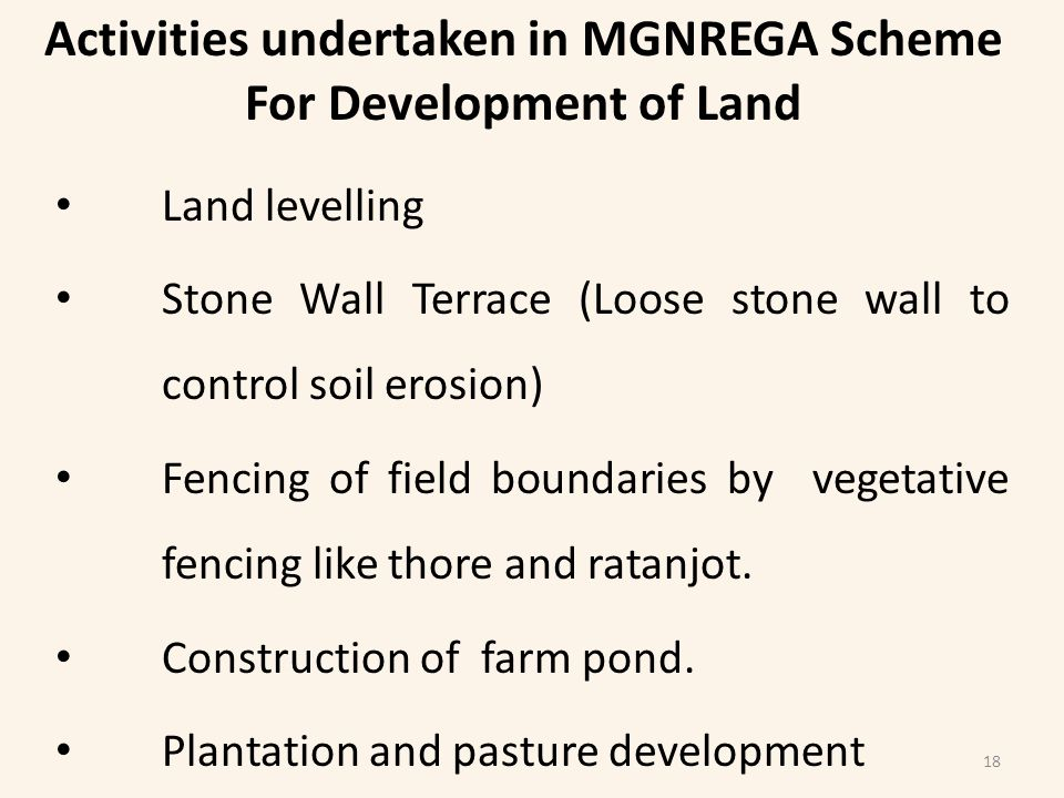 Activities undertaken in MGNREGA Scheme For Development of Land Land levelling Stone Wall Terrace (Loose stone wall to control soil erosion) Fencing of field boundaries by vegetative fencing like thore and ratanjot.