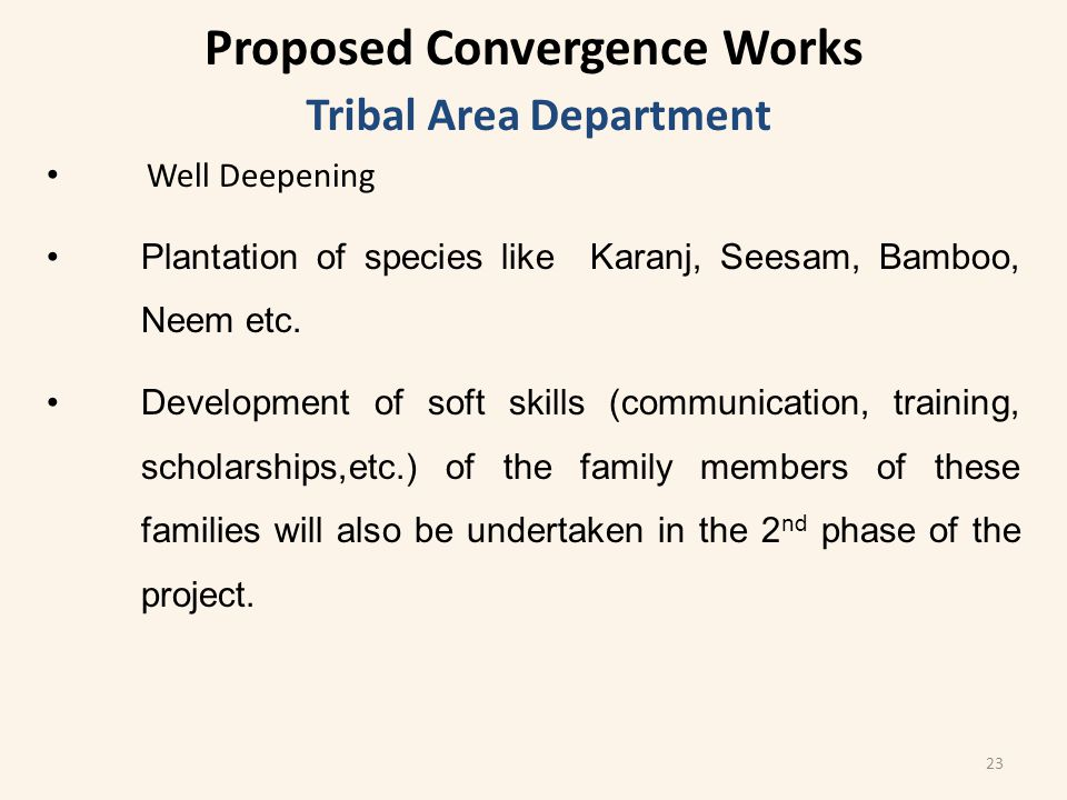 Tribal Area Department Well Deepening Plantation of species like Karanj, Seesam, Bamboo, Neem etc.